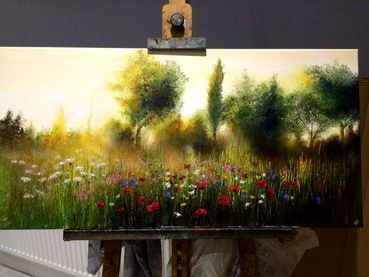 Kimberley Harris: 'The Meadow' oil 2015 painting #art