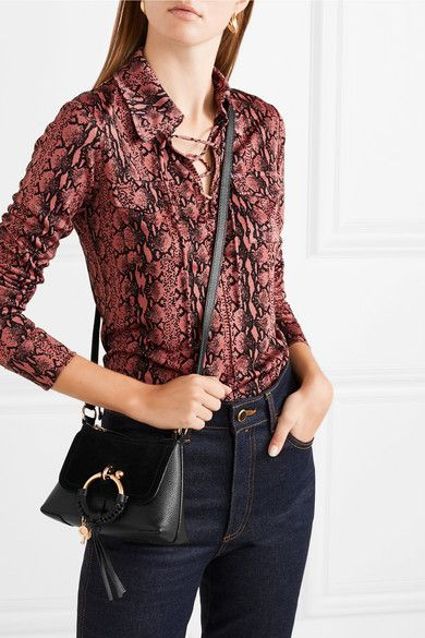 a826be6c See By Chloé | Joan mini suede-paneled textured-leather shoulder bag ...