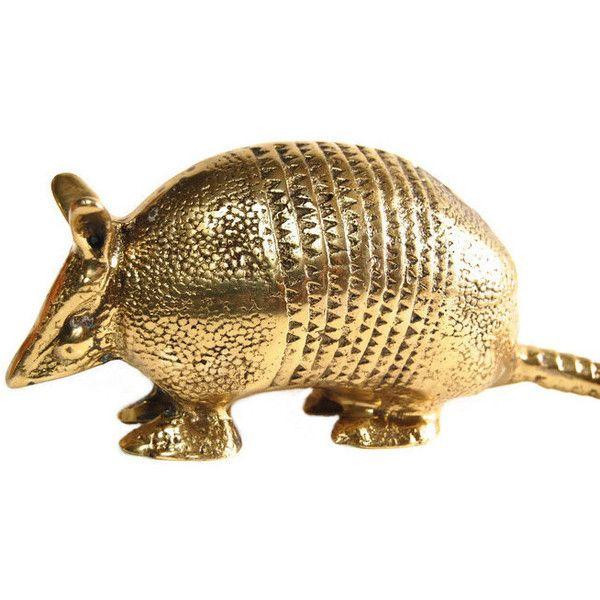 Brass Armadillo Figurine Vintage Exotic Animal Figure Southwestern... ($65) ❤ liked on Polyvore featuring home, home decor, brass figure, animal figure, animal figurines, brass figurines and brass home decor
