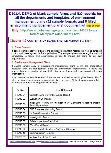 ISO 14001 sample forms Of Environment Management Plans (28