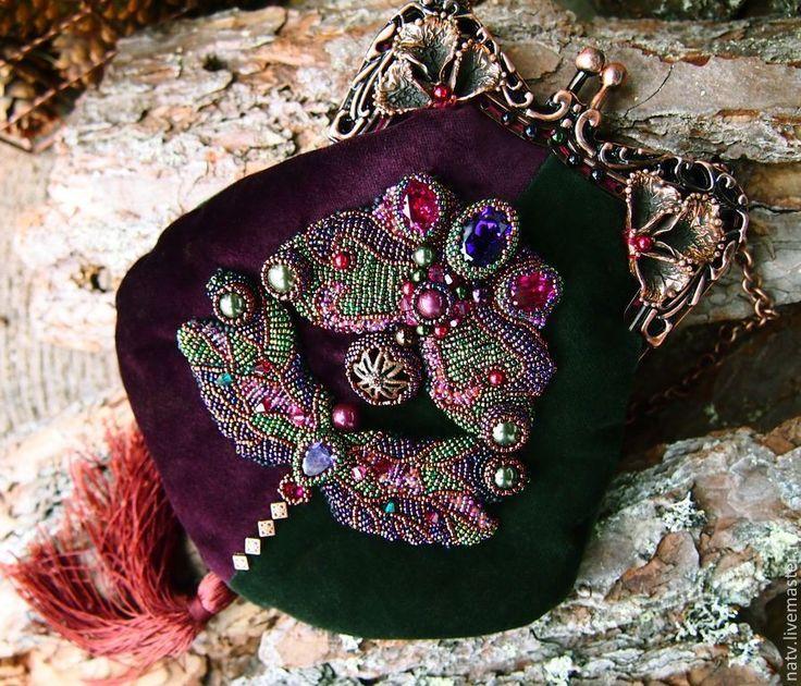 Купити Мотылек-Модерн - тёмно-фиолетовый, Анна Черных, бронза, медь, филигрань, сумка, бархат