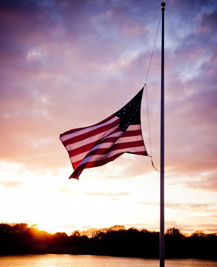 american flags at half mast today