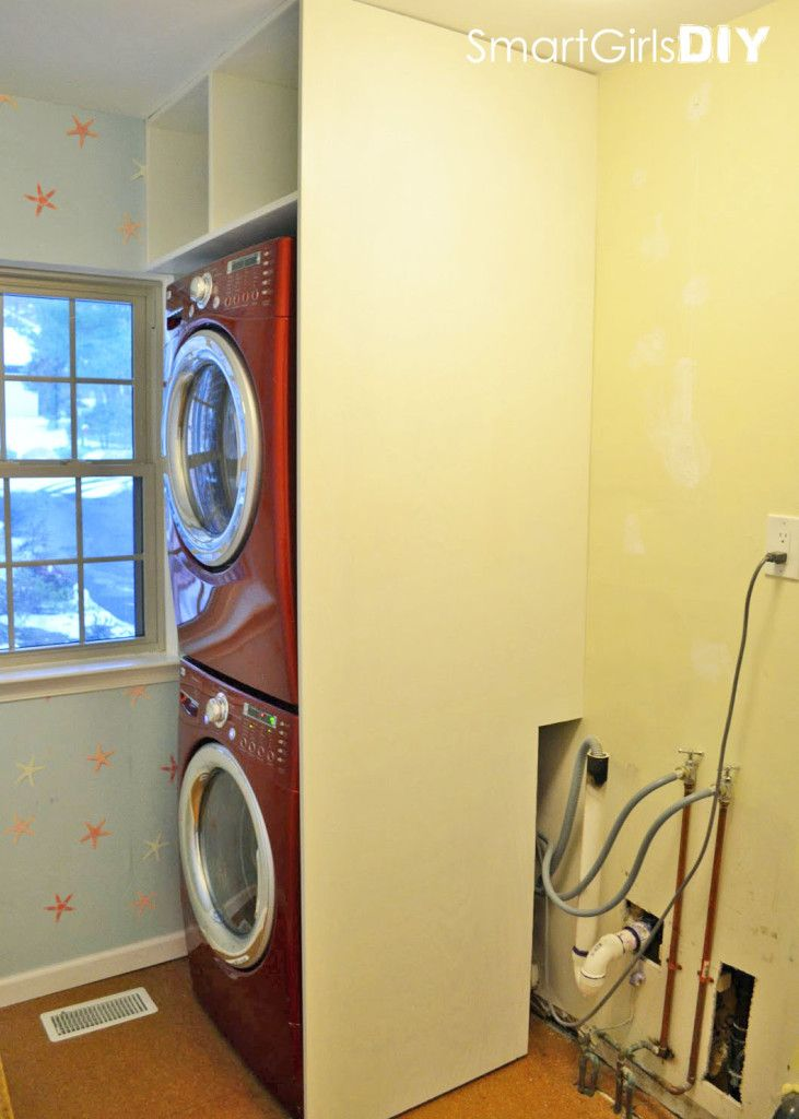 Building a partition wall and shelf over stacked washer dryer