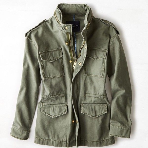 American Eagle Hooded Surplus Jacket (Coat) ($80) ❤ liked on Polyvore featuring outerwear, jackets, tops, coats, fatigue olive, american eagle outfitters jacket, button jacket, hooded jacket, flap jacket and hooded zip jacket