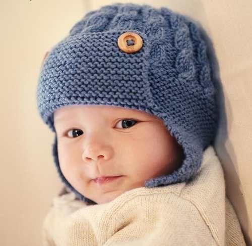 gorro aviador |lana| baby boutique - tejidos bebe niños