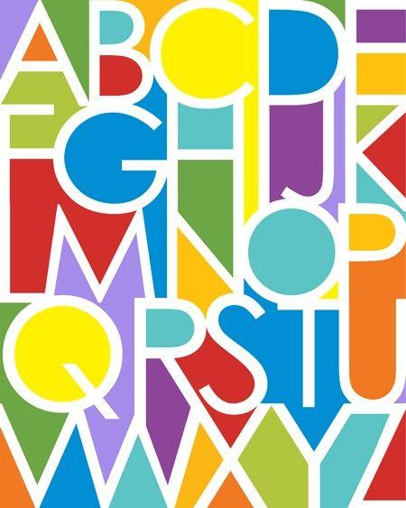 """Negative Space Alphabet - Bright Colors (11""""x14"""")"""