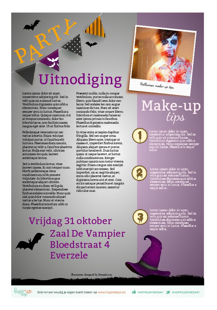 Zelfgemaakte uitnodiging voor een halloweenfeestje. Een krant vol griezelige verhalen, een recept voor pompoensoep, make-uptips...
