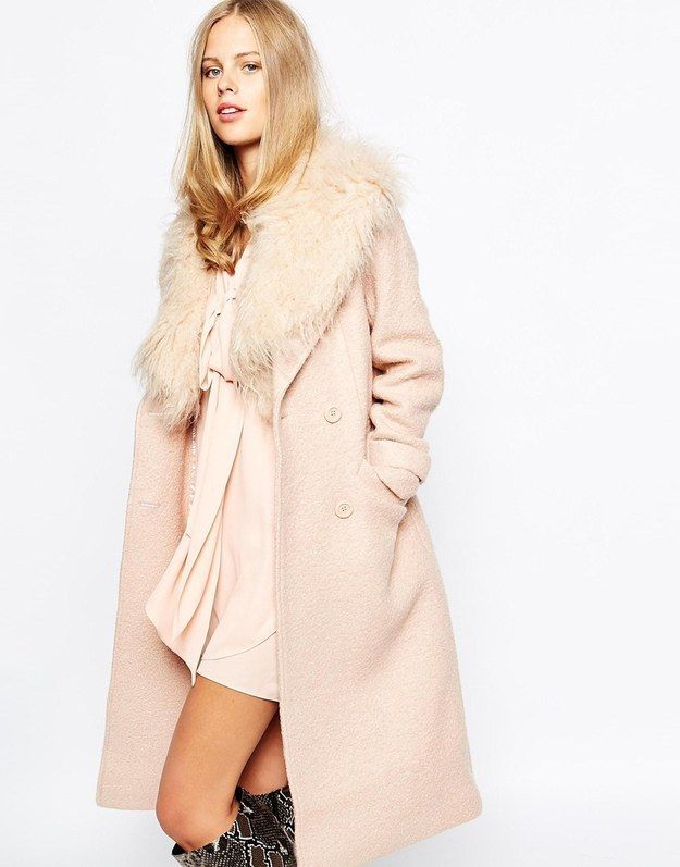 Lost Ink 70's Coat with Faux Fur Collar, $189
