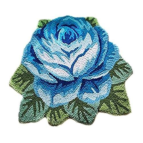 USTIDE Washable Bath Mat Blue Rose Rug Floor Mat Handmade Rug Anti-Slip Modern Carpet Kitchen Area Rugs Rose Flower Rug