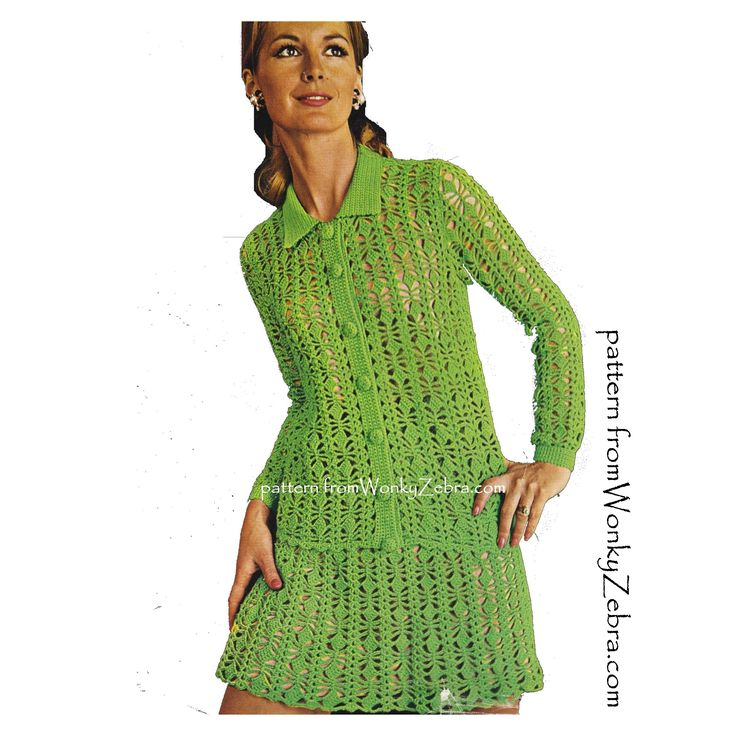 WZ881  A vintage crochet pattern for a sexy little sixties suit (or just make the skirt-perfect for a beach coverup)  pattern PDF 881 from WonkyZebra on Etsy