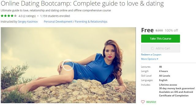 [#Udemy 100% Off] Online #Dating Bootcamp: Complete guide to love & dating   About This Course  Last updated 7/2016English  Course Description  Discounted to $20 for limited time only this course will go up again to $50 soon  <><><> Ultimate Dating Bootcamp: Find success in love & dating <><><>  Wait a second! Or two! Are you having trouble sending messages to women online? Having trouble getting women to message you back? If so look no further. To create this course I created a few fake…