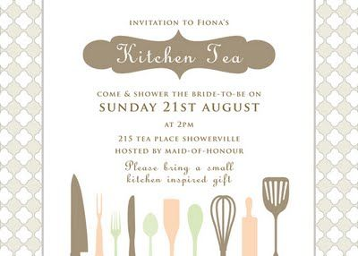 kitchen tea invitations tea party
