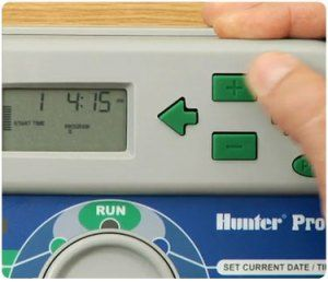 Close-up of programming of Irrigation Controller