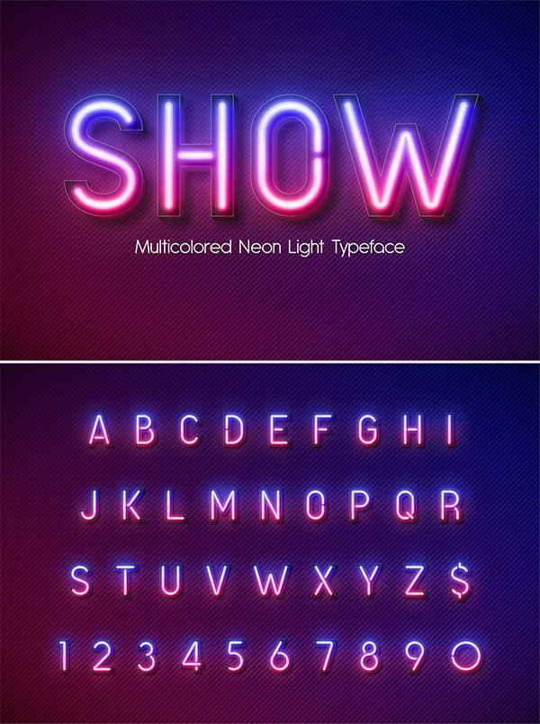 Neon Light Alphabet Multicolored Neon Typography Neon