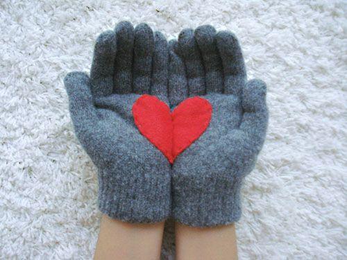 felt glove heart
