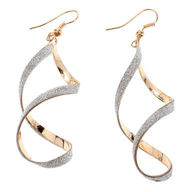 (1 Pair)Fashion (Spiral) Gold Alloy Drop Earrings(Gold) – USD $ 2.99