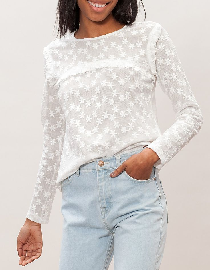 Embroidered tulle top with frill detail