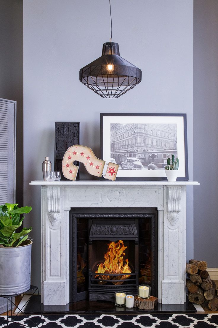 Melbourne Marble Mantle | Brighton Shallow Insert | Sinaloa Iron Pendant | Lantern Wool  Rug | Buy at Schots in Melbourne & Geelong, Australia