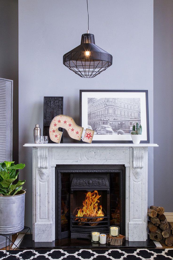 Melbourne Marble Mantle | Brighton Shallow Insert | Sinaloa Iron Pendant | Lantern Wool  Rug | Buy at Schots in Melbourne & Geelong, Australia