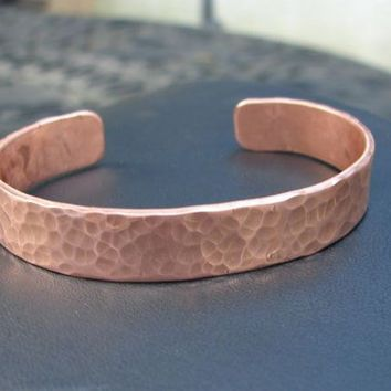 Hammered Copper Cuff Bracelet Men by NiciLaskin on Etsy
