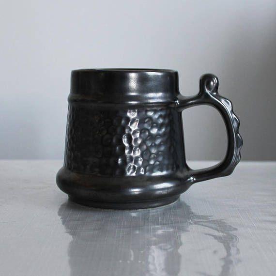 Vintage tankard black mug ceramic pint Prinknash metallic
