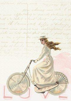 Vintage, Girl, Bicycle, Decoration