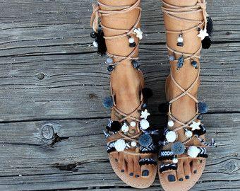 Sandalias étnicas de gladiador alto la rodilla por SandalsofLove