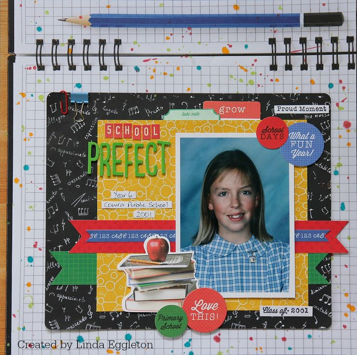 """""""School Prefect"""" layout by Linda Eggleton for Kaisercraft """"2 Cool 4 School"""" collection ~ Scrapbook Pages 3."""