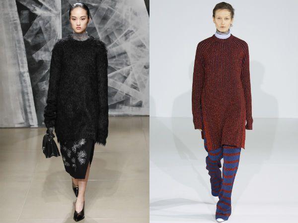 Модные длинные свитера, джемпера, свитшоты осень-зима 2016-2017 Cedric Charlier, Jil Sander