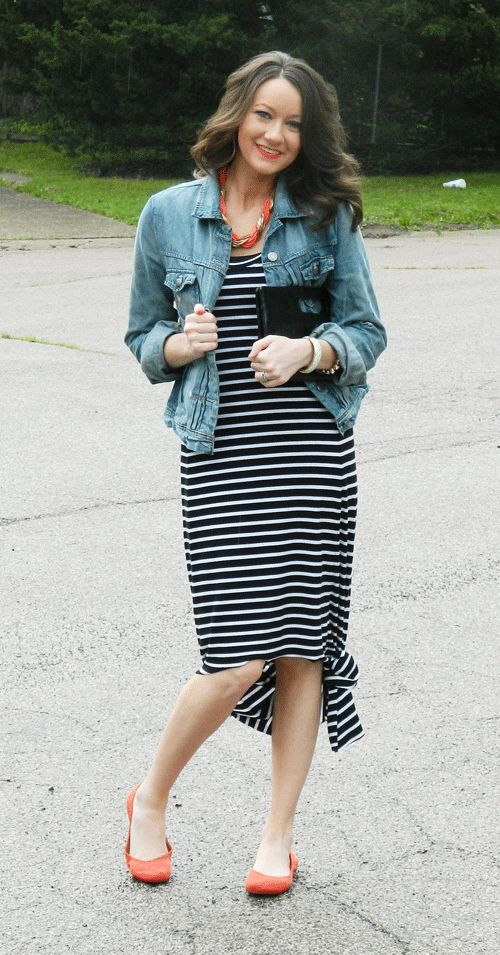 c1730f8d924d black-and-white-striped-dress-with-blue-jean-jacket-and-orange-accessories2  | Fashion | Denim jacket with dress, Blue jean jacket, Striped maxi dresses