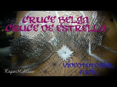 Cruce de estrella o belga de encaje de bolillos - YouTube