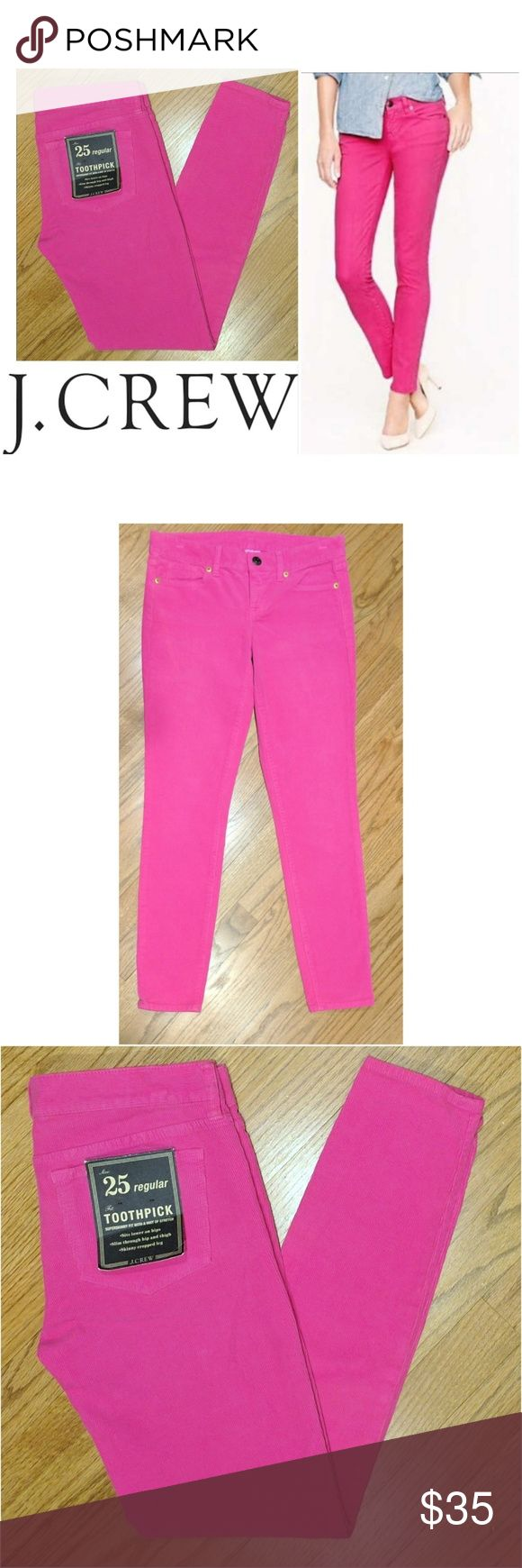 """NWT Toothpick J. Crew hot pink pants These sexy J. Crew toothpick pants are perfect for dressing up any occasion! Hot pink corduroy cotton material with 1% spandex for stretch fit. Traditional 5 pocket style. Size 25 regular, 28"""" inseam. Dress up or down with flats and blouses, heels and tanktops... Possibilities are endless! Grab yours for less and look sexy in J. Crew! J. Crew Pants"""