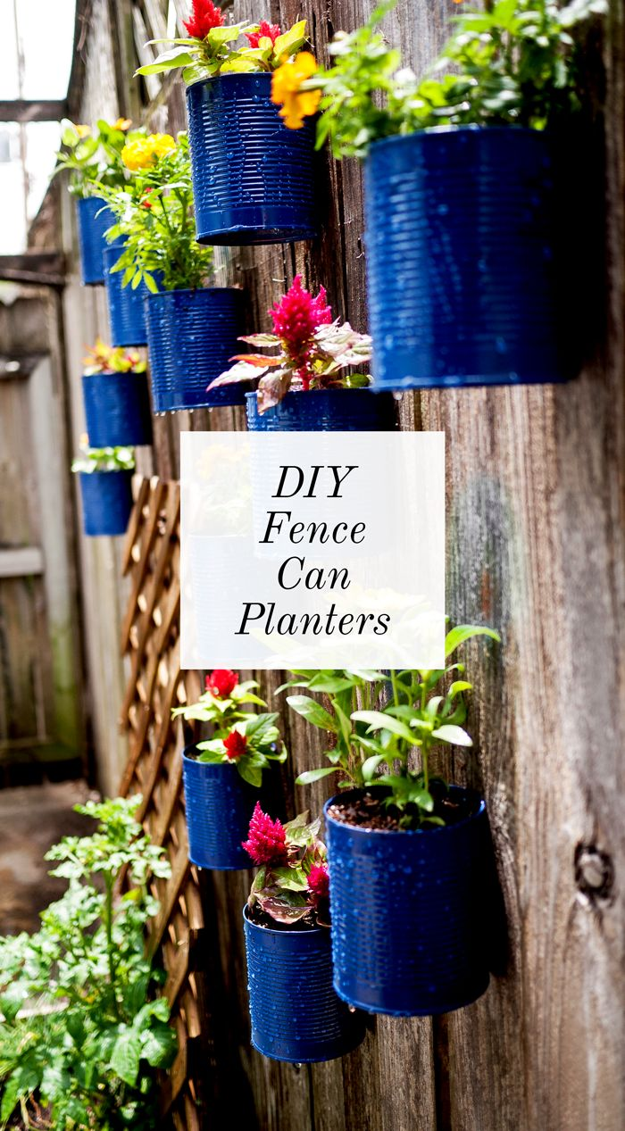 DIY Fence Can Planters - upcycle old cans