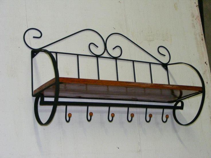 prateleira, suporte parede, estilo antigo ferro madeira