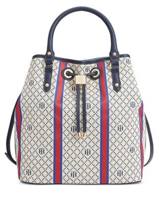 Tommy Hilfiger Hannah Diamond Jacquard Drawstring Bag