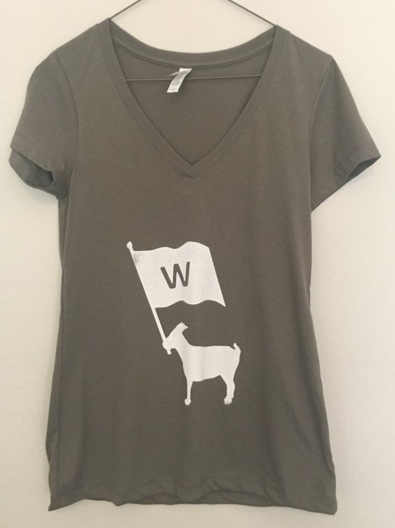 Women's Chicago Cubs GOAT W flag V Neck by GreatestOfAllTshirts