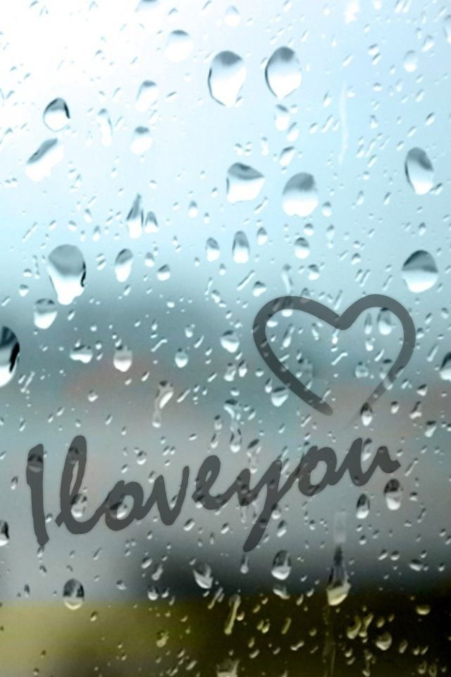 I Love You with heart - raining on iphone screen