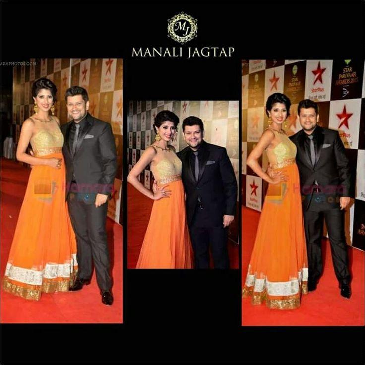 Beautiful & Gorgeous Aishwarya Sakhuja walked the red carpet at Star Parivaar Awards in Mj Floor Length Anarkali Gown <3 #manalijagtap#floorlength#gown#starpariwaarawards#redcarpet