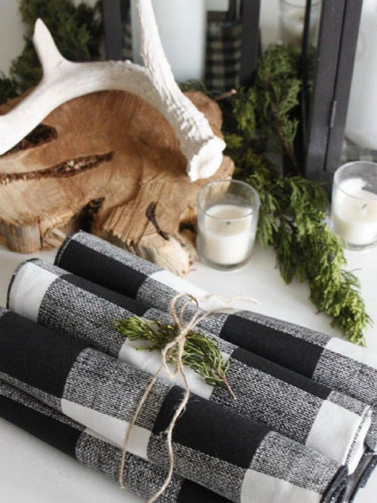 Nothing speaks farmhouse like plaid. Either a Table Runner, placemats or napkins, it's a great way to add a fun pop of texture to a room! #farmhouse #plaid #tablerunner #napkins #placemat #farmhousestyle #ad #farmhousedinningroom #
