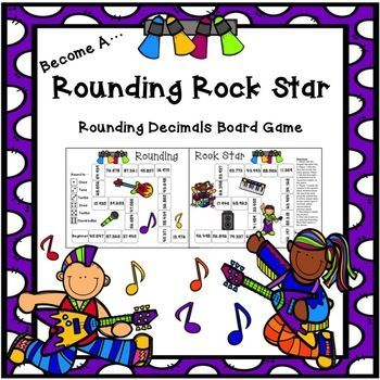 Become a Rounding Rock Star by playing this super fun board game! Board game reinforces the concept of rounding to the nearest Tens, Ones, Tenths and Hundredths. Download comes with 2 game boards- 1 colored and 1 black and white (to save on ink) Game Boards contain the directions printed on the game board! 2 sheets of game pieces/movers (colored and black and white) Answer Key for students to check other students work.