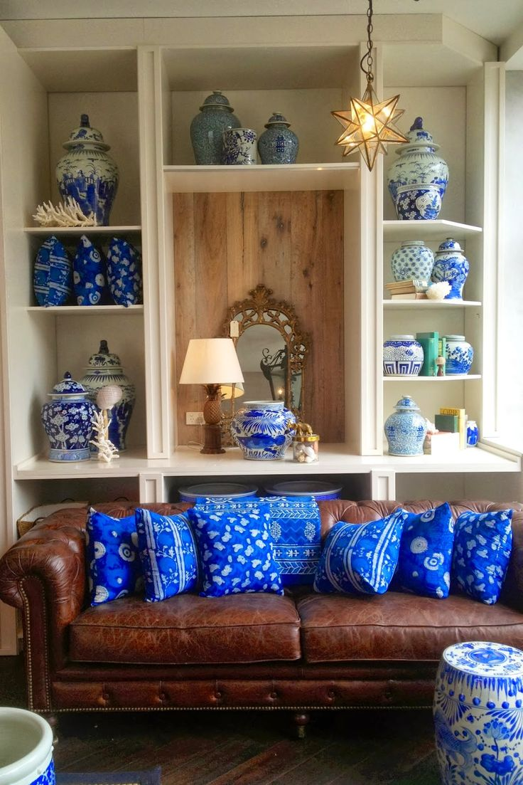 PORTOBELLO - HOME Blue and white china, vintage brown leather chesterfield sofa
