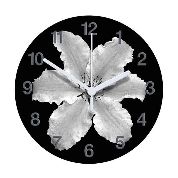 Black and White Clematis Clock by AtticLightHome on Etsy