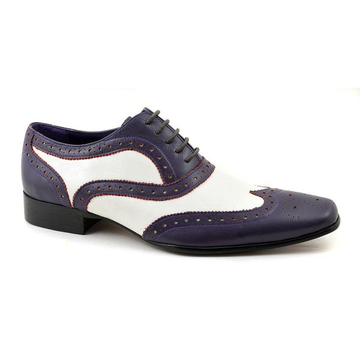 Purple white oxford two tone brogues for men.