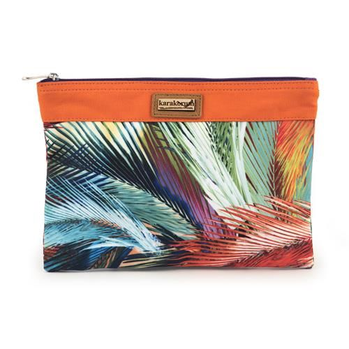 POCHETTE CALLIOPE - Pochette in tela di nylon, stampa con foglie multicolore e chiusura con zip.