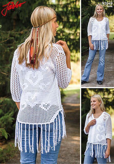 Ravelry: Virkad kofta med fransar 91649 pattern by Järbo Garn Stickdesign