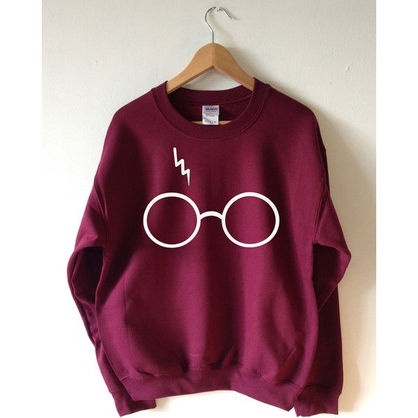 Harry Potter Sweater Lightning Glasses Sweatshirt Crew Neck High... ($20) ❤ liked on Polyvore featuring tops, hoodies, sweatshirts, purple crew neck sweatshirt, crew neck sweatshirts, crew-neck sweatshirts, screen print sweatshirt and crew top