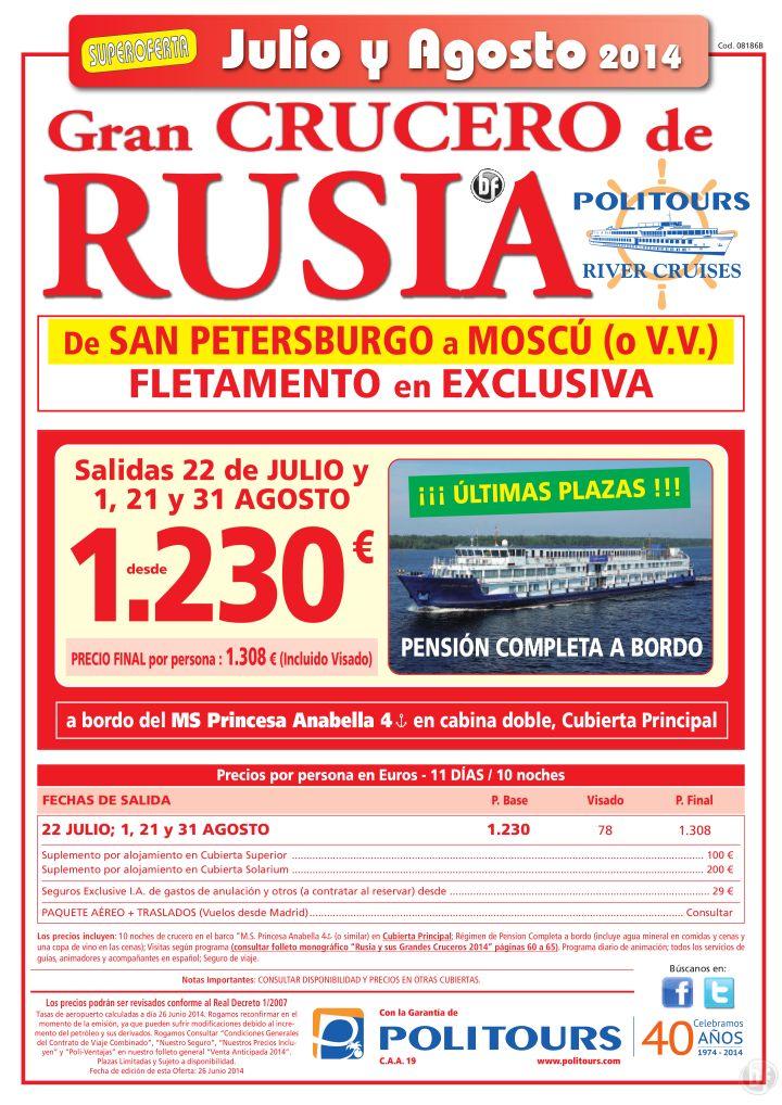 Gran Crucero de RUSIA, Sal. 22 de Julio - 1, 21 y 31 de Agosto (11d/10n) precio final 1.308€ ultimo minuto - http://zocotours.com/gran-crucero-de-rusia-sal-22-de-julio-1-21-y-31-de-agosto-11d10n-precio-final-1-308e-ultimo-minuto-3/