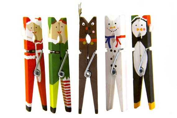 Set of 5 Hand Painted Christmas Clothespin Ornaments - Santa Claus, Elves, Reindeer, Snowmen, Penguins - Place Card Holders, Gift Tag Clips