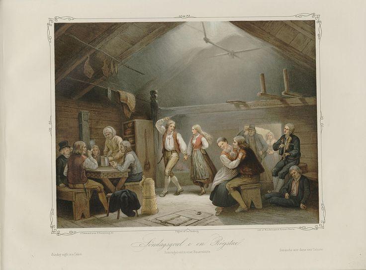 Norske Folkelivsbilleder - Adolph Tidemand - Søndagsgvæl i en røgstue. jpg (1280×946)