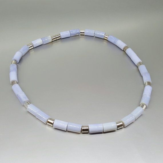 Check out Chalcedony necklace with Sterling silver elements and magnet clasp - gift idea - holiday season on gemorydesign